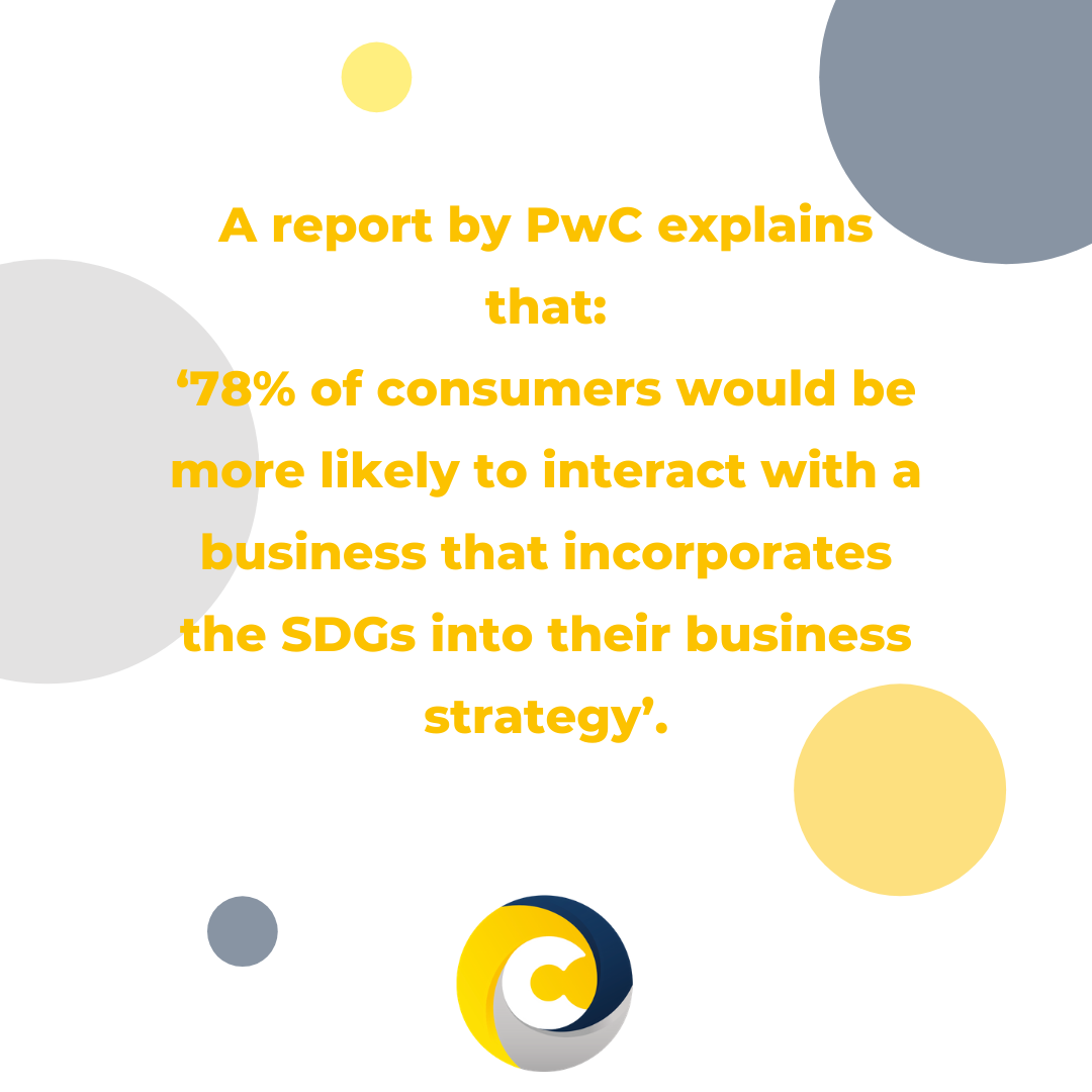 A report by PwC explains that '78% of consumers would be more likely to interact with a business that incorporates the SDGs into their business strategy'.