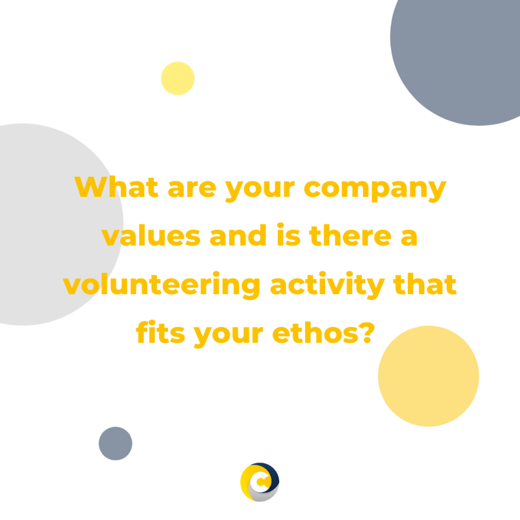 What are your company values and is there a volunteering activity that fits your ethos?