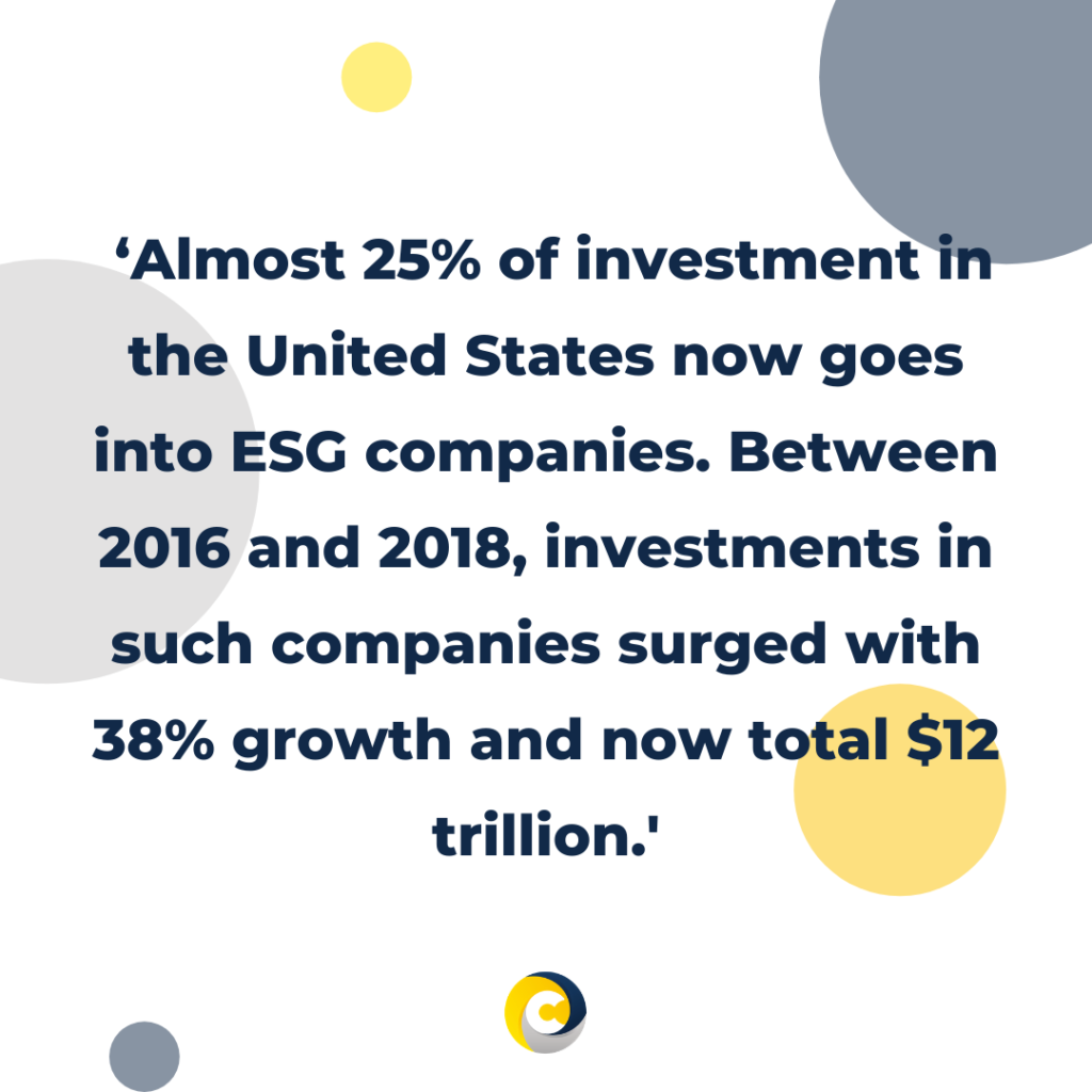 'Almost 25% of investment in the United States now goes into ESG companies. Between 2016 and 2018, investments in such companies surged with 38% growth and now total $12 trillion.'