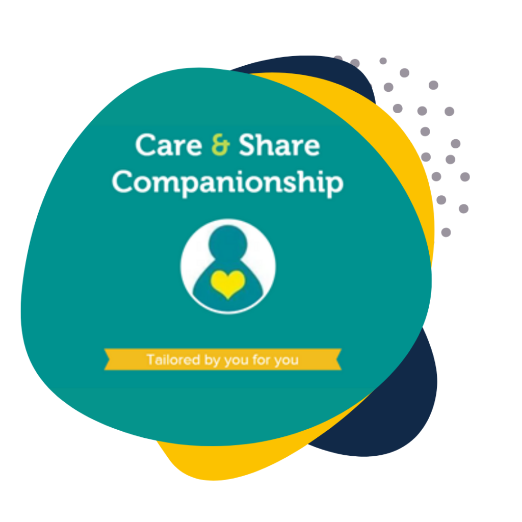 Care and Share Companionship logo on Social Good Connect branded background